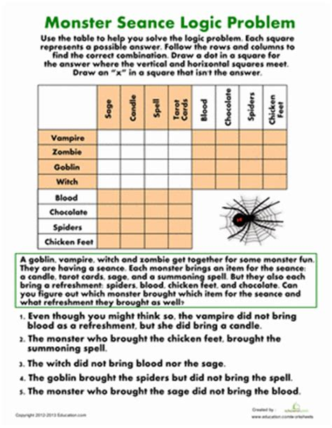 printable logic puzzles 5th grade monster seance logic problem worksheets monsters and math