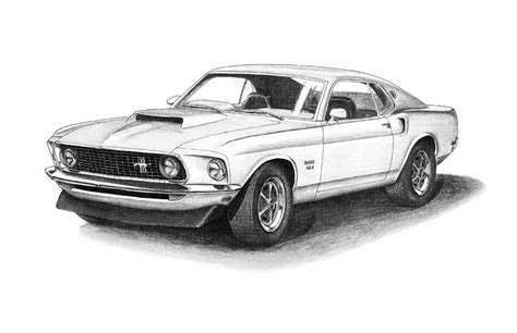 mustang drawing 1969 ford mustang 429 drawing by nick toth