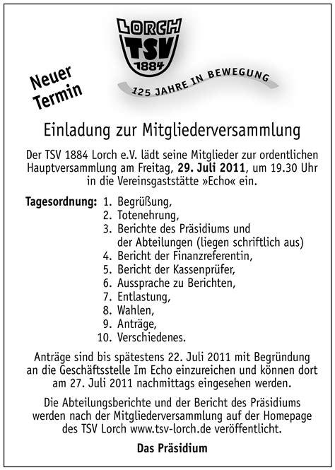 Muster Einladung Zur Jahreshauptversammlung Verein Tsv Lorch 1884 E V
