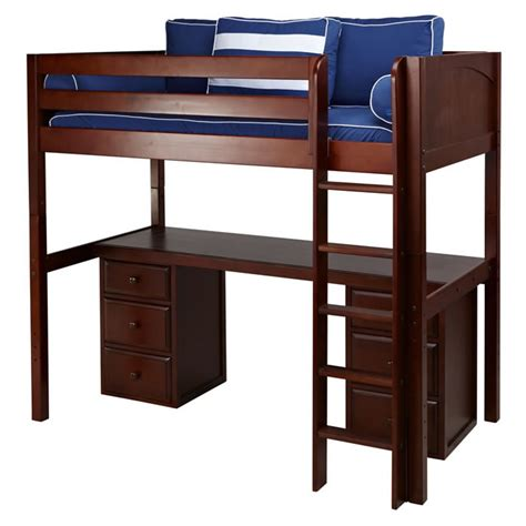 High Bed With Drawers by Jib Jab High Loft Bed With Desk And 2 Drawers In Chestnut