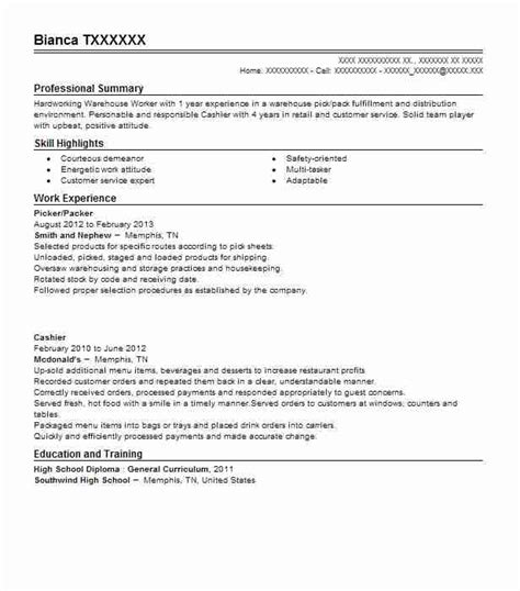 Sle Resume Warehouse Packer Sle Resume For Warehouse Picker Packer Best Picker And Packer Resume Exle Livecareer