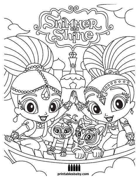 coloring page free printable shimmer and shine printables baby free cartoon
