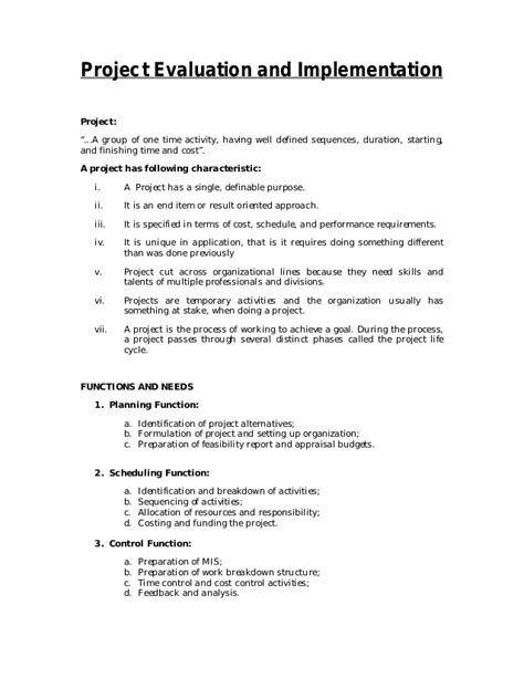 Project Evaluation Letter Project Evaluation And Implementation Notes And Questions