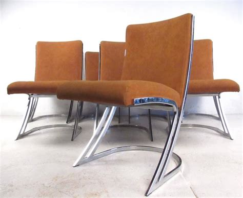 Cantilever Dining Chairs Set Of Eight Vintage Chrome Cantilever Dining Chairs For Sale At 1stdibs