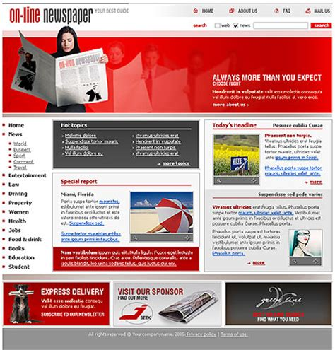 newspaper website template best website templates