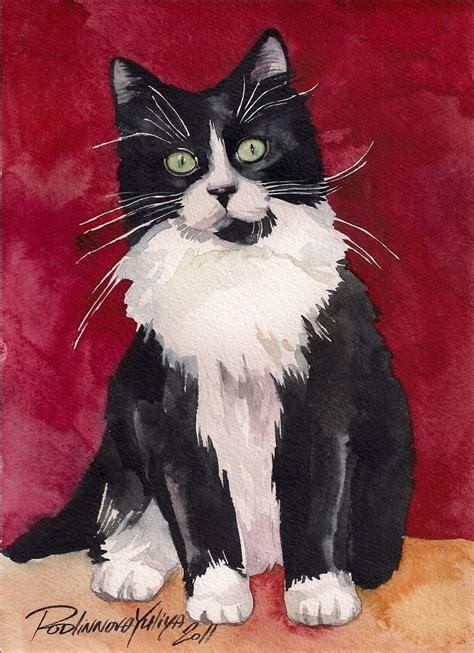 print of original watercolor painting tuxedo cat kitten black and white ebay