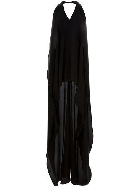 draped backless dress amaya arzuaga long draped backless dress in black lyst