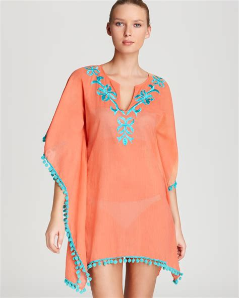Cover Ups Ondademar Swimsuit Cover Up Embroidered Pom Pom Tunic In