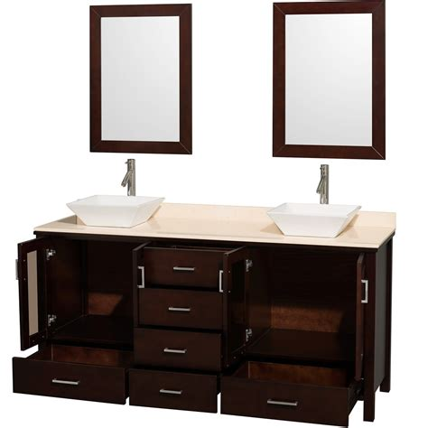 bathroom design lucy 72 quot double bathroom vanity set with vessel sinks 32 single sink vanity