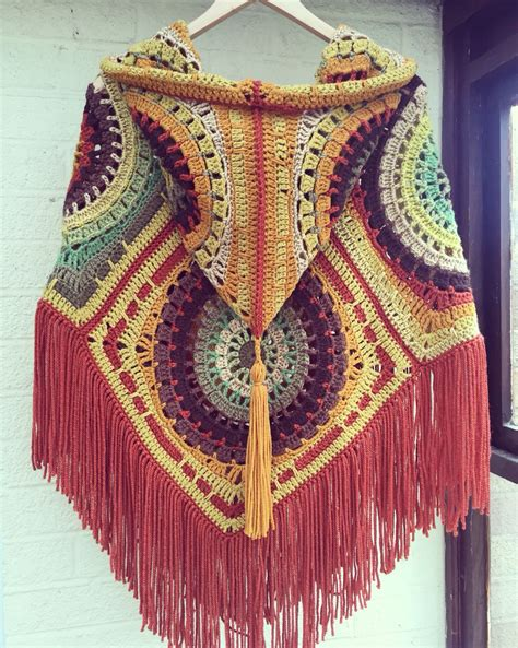 free pattern hooded cape crochet hooded poncho in lovely autumn colours seventies