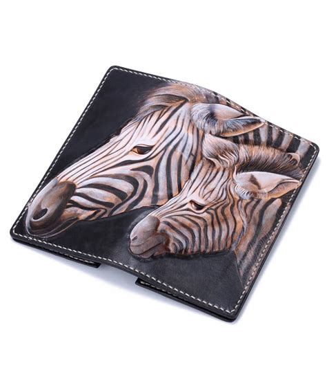 Handmade Leather Biker Wallets - tooled handmade leather biker wallet zebra makkashop