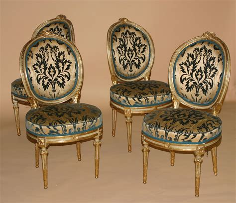 set of eight northern italian painted and