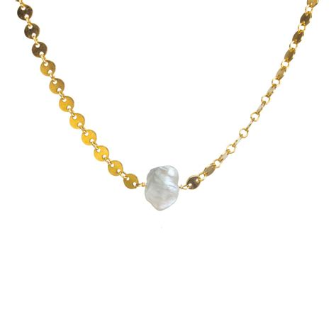 Chain Of Pearl 1 2 pearls of keshi pearl disc chain choker gold dipped dogeared