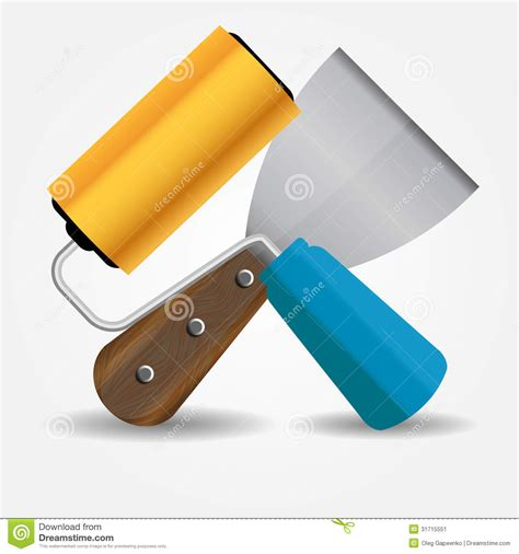 eps format paint net paint roll and spatula icon vector illustration stock