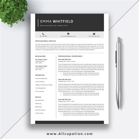 resume templates job application creative