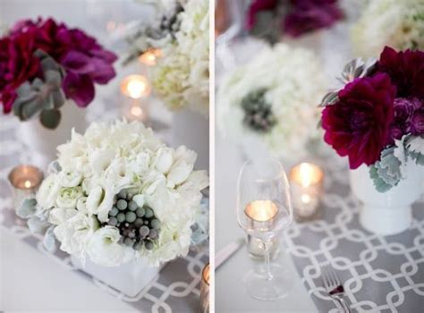 Beautiful gray, cream & burgundy wedding centerpiece
