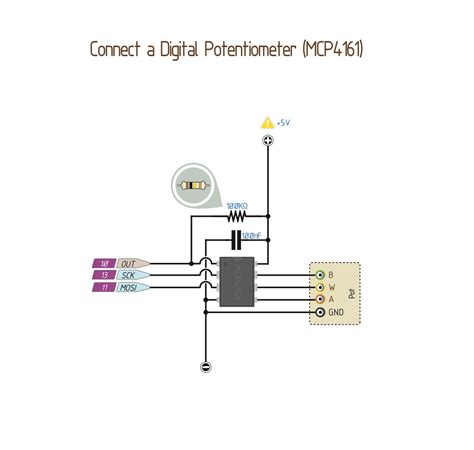 wiring a digital potentiometer with mcp4161 14core
