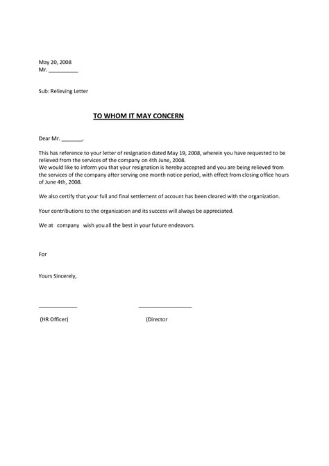 Release Letter To Employer relieving letter format for employee free aba