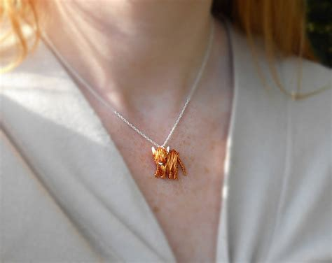 Handcrafted Silver - handcrafted silver and copper highland cow pendant by am