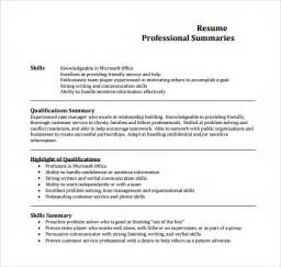 Professional Summary Exles For Resumes by Sle Professional Summary Template 9 Free Documents In Pdf