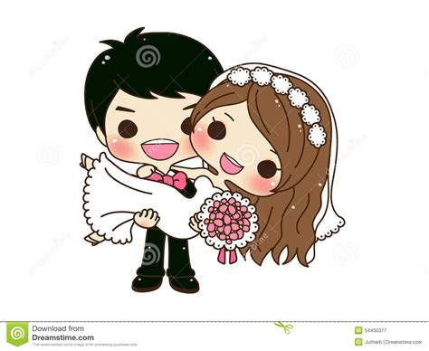 Wallpaper Sticker Dinding Garis Krem Lightblue mariage mignon de couples illustration de vecteur