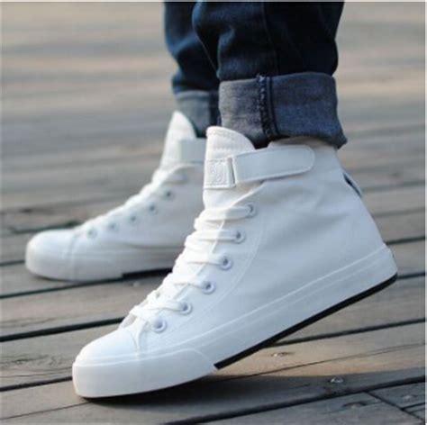 best white sneakers mens high top canvas shoes white lace up