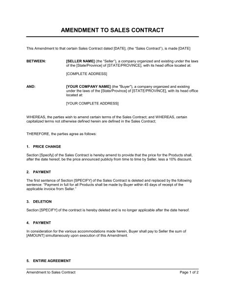 contract amendment template amendment to sales contract template sle form