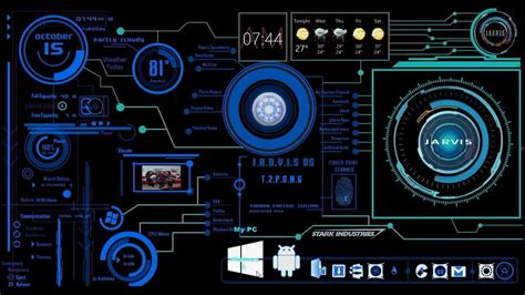jarvis theme for windows 7 rainmeter rainmeter ironman jarvis real blue desktop skin youtube