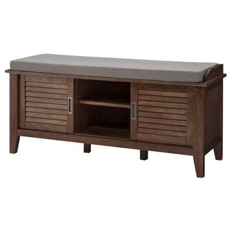 media storage bench threshold storage bench with slatted doors ideas for the