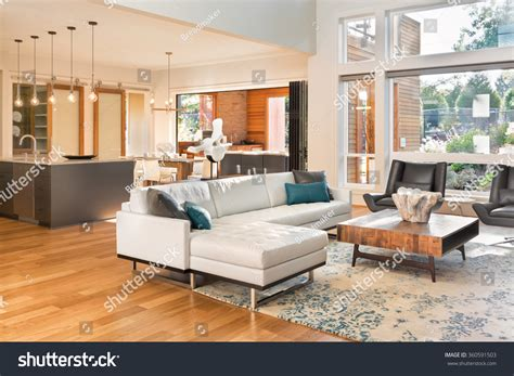 beautiful house interior view of the kitchen beautiful living room interior new luxury stock photo
