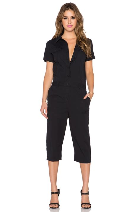 Feather Jumpsuit Da lyst marc by marc cropped stretch cotton jumpsuit in black