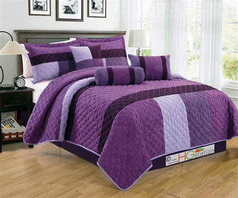 Lilac Comforter Sets by 7 Pc Faux Suede Quilted Striped Patchwork Comforter Set Lilac Violet Purple King Ebay