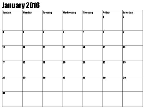 printable monthly calendar january 2016 8 best images of calendars printable 2016 january monthly