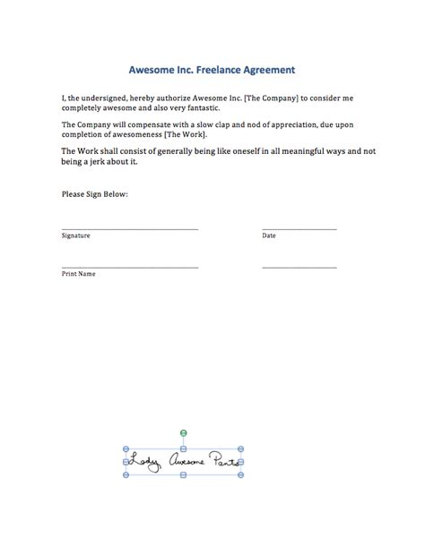 Signing Digital Contracts Adding Your Signature To A Ms Word File Marnie Speak Good Girl Contract Signature Page Template