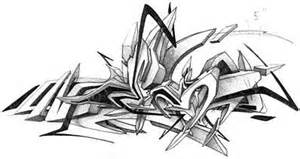 3d Graffiti Sketches Black And White Sketch Coloring Page sketch template