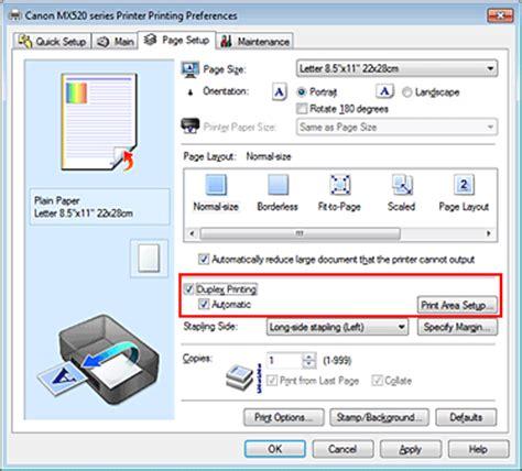 layout page nedir canon pixma manuals mx520 series duplex printing