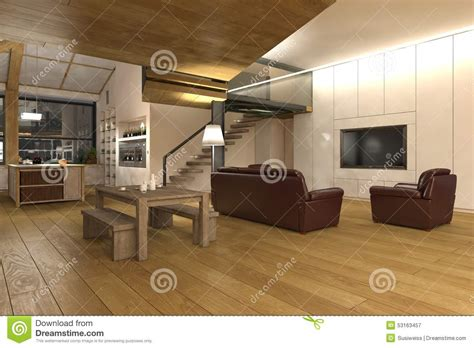 Open Floor Plan Kitchen Ideas Grand Salon D Ouvert Plan Cuisine Illustration Stock