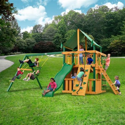 academy swing sets gorilla playsets chateau swing set with timber shield
