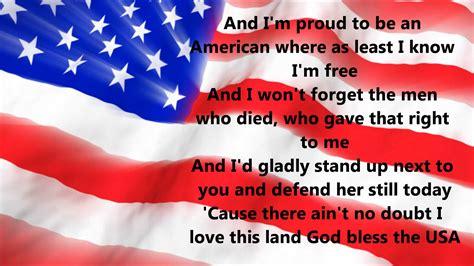 An American Lyrics Greenwood God Bless The Usa Lyrics