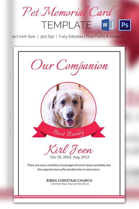 5 pet memorial card templates free word pdf psd
