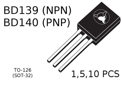 bd139 power transistor bd139 npn bd140 pnp power transistors to 126 sot 32 1 5 10 pcs ebay