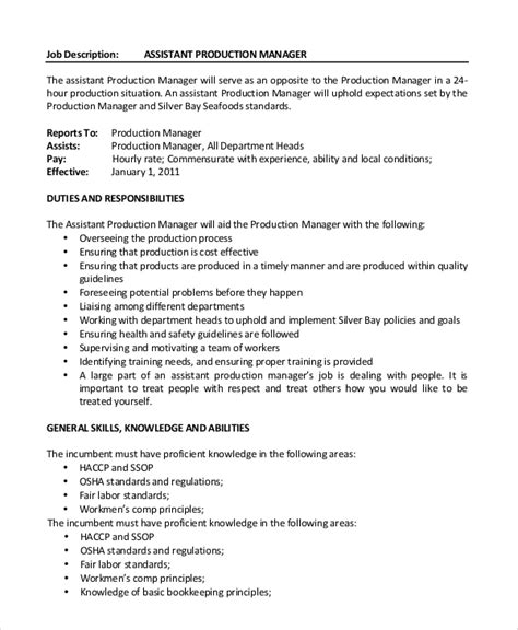 production manager description template sle production manager description 10 exles