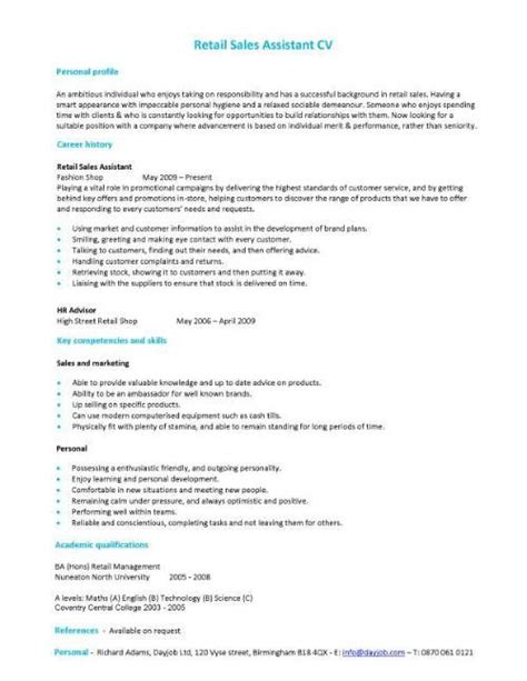 show resume sles show of your retail work experience potential and sales