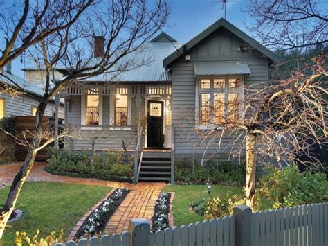Canvas Awnings Melbourne Corrugated Iron Edwardian House Exterior With Picket Fence