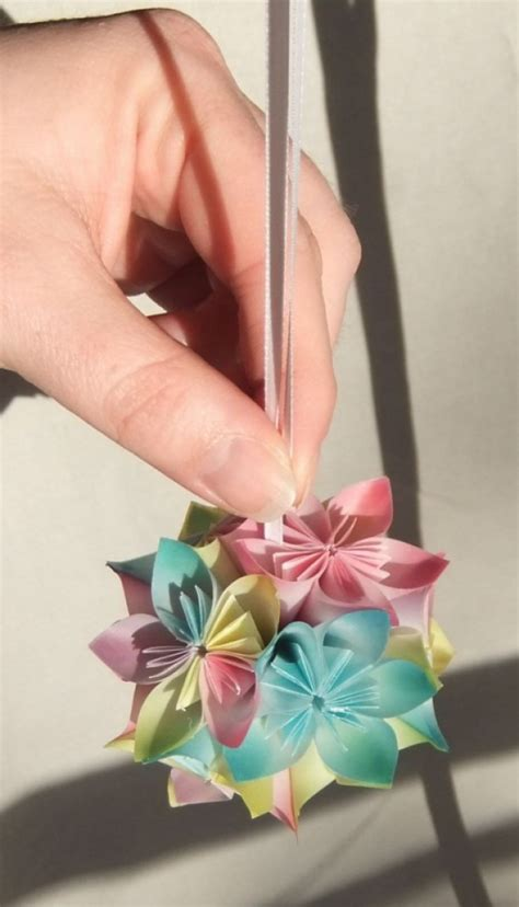 Origami Small Flower - pastel origami ornament aftcra