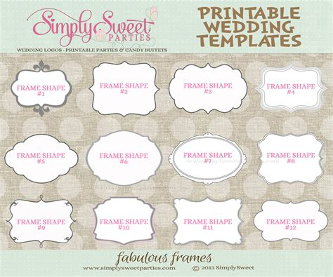 Labels For Wedding Favors Free Templates 9 best images of printable wedding templates favor free