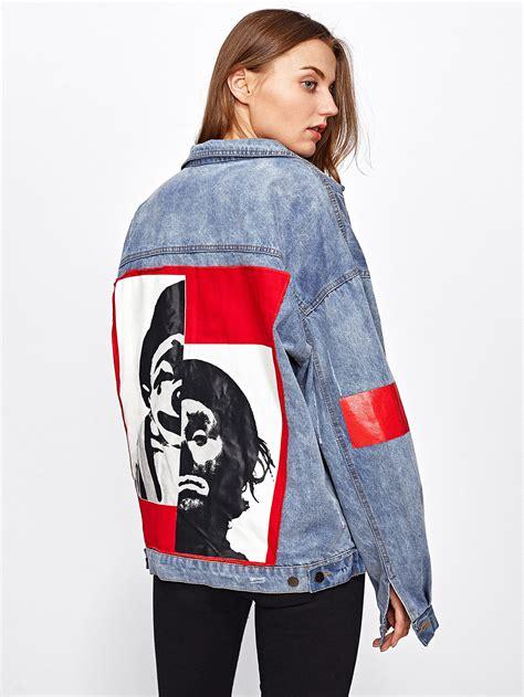 Print Jacket patch back letter print wash denim jacketfor