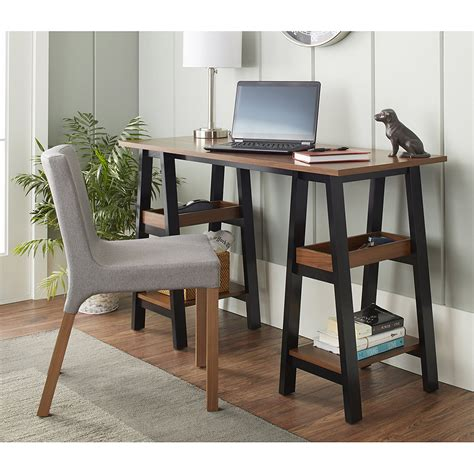 office work table with storage work table wood office home desk 4 shelves storage black