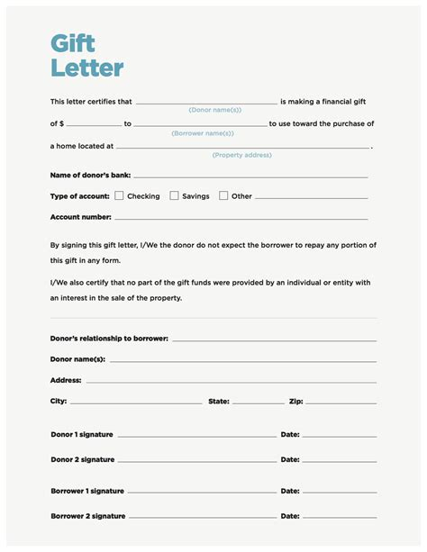 mortgage gift letter template availabel