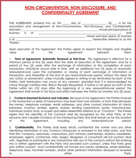Non Disclosure Non Circumvention Agreement Template 28 Images Non Disclosure Non Non Circumvention Agreement Template